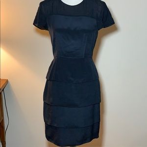 French Connection Navy Blue Tiered Silk Dress